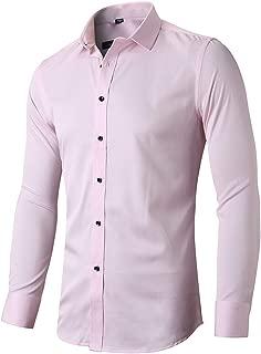 FLY HAWK Mens Dress Shirts, Slim Fit Long Sleeves Elastic Bamboo Fiber Button Down Shirts