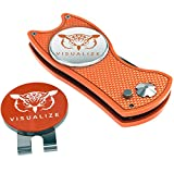 VISUALIZE Talon Plus Premium Switchblade-Style Divot Repair Tools - Golf Accessories - Golf Divot Tool with Silicone Owl Golf Ball Marker with Hat Clip - 4-in-1 Multi Tool Kit (Orange)