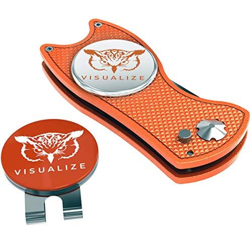 VISUALIZE タロン プラス スイッチブレードスタイル ディボット修復ツール - ゴルフアクセサリー - キャップクリップタイプのフクロウのシリコン製ボールマーカー付きゴルフディボットツール - 4イン1 マルチツールキット オレンジ-ホワイト