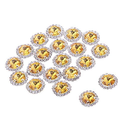 joyMerit 20 Piezas Coser en Diamantes de Imitación de Cristal Adornos de Botón de Joyería de Espalda Plana - Dorado, Individual