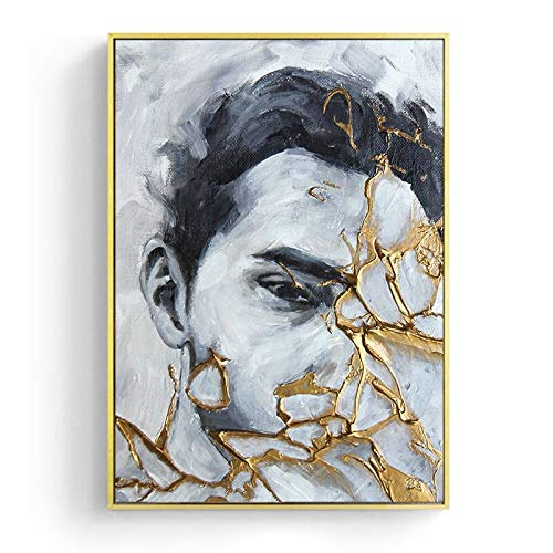 Abstract golden fire portrait wall art poster and creative character canvas painting home decoration wall painting living room bedroom corridor mural