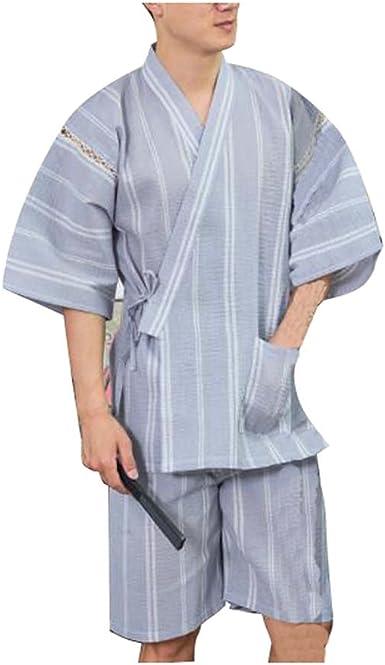 Black Temptation Kimono Jinbei camisa y pantalón japonés Loungewear/spa albornoz (corto) - H