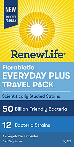 Renew Life Florabiotic Everyday Plus Travel Pack- 50 Billion Bacteria - 12 Strains - 1 Bottle X 14 Vegetarian Capsules