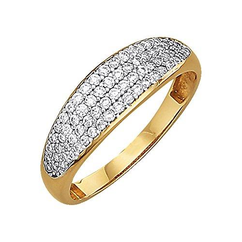 Jacques Lemans Damen Ring 375/- Gold Glänzend Zirkonia gelb 490370017