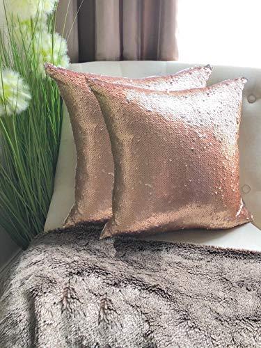 The Range Par de fundas de cojín de color rosa con lentejuelas brillantes para sofá, 45,7 x 45,7 cm