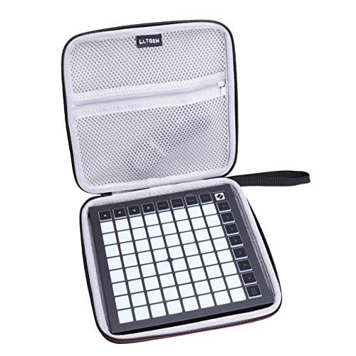 LTGEM Case for Novation Launchpad Mini MK3 MIDI Grid Controller,Hard EVA Storge Bag-black(white lining)