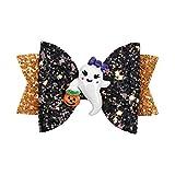 Halloween Decorations Halloween Glitter Spider Hair Bow for Girls Party Dance Hair Barrettes Flower Hair Accessories Ghost Hairpin Headdress Cartoon Hair Grips