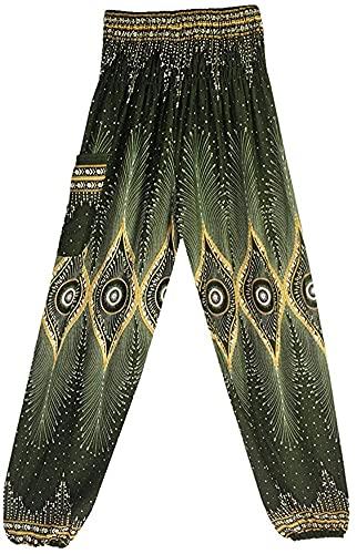 LAYAN-B Pantalones de yoga bohemios tailandeses florales holgados Harén impreso Hippy cintura fruncida pantalones hippie para pilates (verde oscuro, talla única)