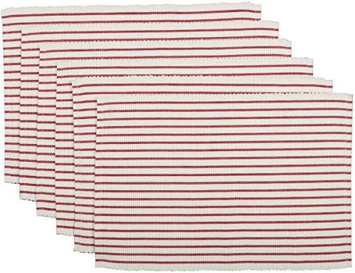 VHC Brands Farmhouse Tabletop Kitchen Audrey Cotton Textured Striped Rectangle Table D cor Placemat product image