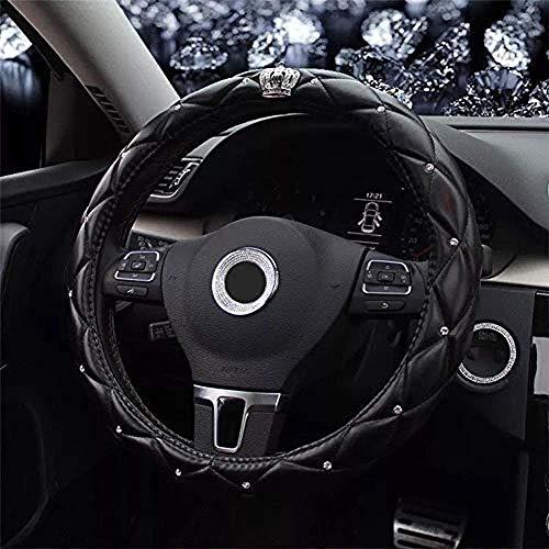 Cubierta para volante de coche con corona y diamantes de imitación y exquisito diseño de rejilla y piel suave, elegante y elegante, universal de 15 pulgadas / 38 cm (negro)