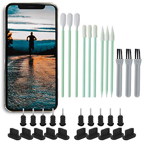 PortPlugs Anti-Dust Plug Set (10 Pairs) + 9 Piece Cell Phone Cleaning Kit, Compatible with All iPhone, USB C and Micro USB Android Models, Charging Port Covers and Earphone Jack Plugs (Black)