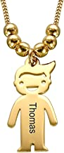 MyNameNecklace Personalized Children Charms Mothers Necklace - Engraved Boy-Girl Charm - Gold Plated for Mom