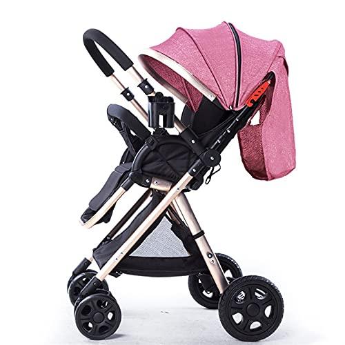 HZPXSB Peso Ligero de Alto Paisaje Cochecito de bebé de Cuatro Ruedas Puede Sentarse y mentir bebé Luxury Car PRAM Silla bebé Carro 6.8kg (Color : Red)