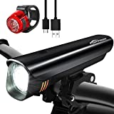 TOPTREK Bike Light Set Bicycle Lights USB Rechargeable Cycling Front Light and Back Rear Light kit Custom-made Battery 8 Hours run-time/Waterproof IPX5/Super Bright CREE LED for Mountain/Road Bike/BMX