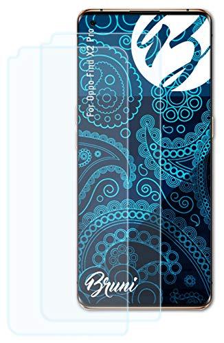Bruni Schutzfolie kompatibel mit Oppo Find X2 Pro Folie, glasklare Bildschirmschutzfolie (2X)