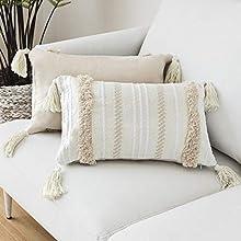 Funda de almohada borla de punto para decoración del hogar, fundas de almohada de color beige sólido tejido fundas de cojín para sofá o sala de estar 30x50