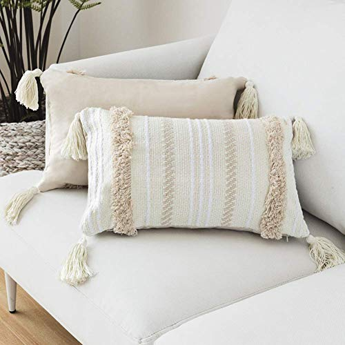 LOMOHOO Boho Throw Pillow Case Cover Cushion Tufted Tassel Woven Decorative Pillowcase for Couch Sofa Bedroom Living Room Light Yellow Beige 12X20 Inch 30cmx50cm 1PC