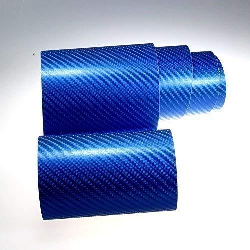 TipTopCarbon 8,55€/m² Autofolie 4D Carbon Blau metallic 152cm breit BLASENFREI mit Luftkanäle 3D Flex Selbstklebende Folie Auto folierung
