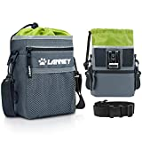 LANNEY Dog Treat Pouch Pet Training Bag for Small to Large Dogs, Treat Tote Carry Kibble Snacks Toys for Training Reward Walking, Metal Clip, Waist Belt, Shoulder Strap, Pouch (Gray with Green)