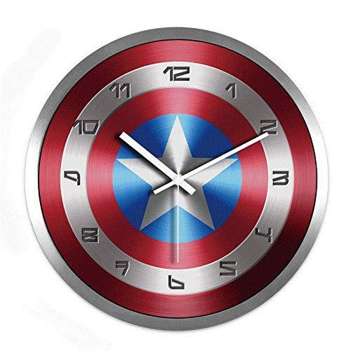 LIJINFEI Wanduhr Wohnzimmer kreative Uhr Schlafzimmer Ultra-leise hängenden Tisch @ 14 Zoll_R8 Captain America digitalen Schild Metall weiße Nadel Silberrahmen