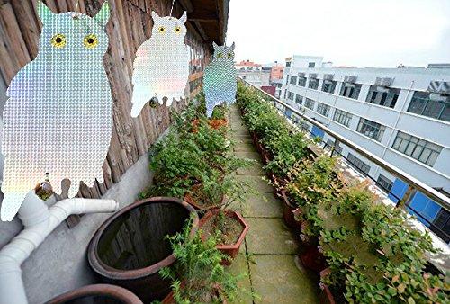 iNeibo Búho espantapajaros, Reflector holográfico de doble lado para jardine