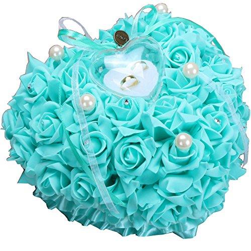Zinsale Elegant Herzform Hochzeit Ringkissen Rose Ringschachtel mit Satin Blumen (Tiffany)