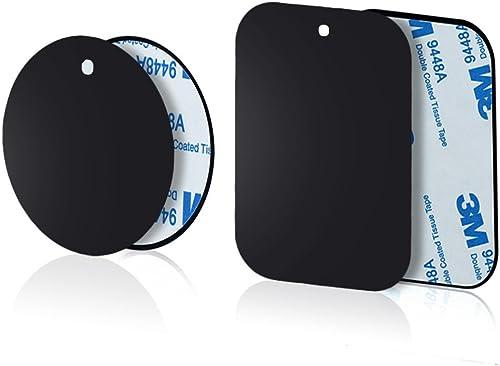 Yianerm Lot de 4 plaques métalliques Fines pour Support magnétique pour téléphone de Voiture (2 Rondes et 2 rectangul...