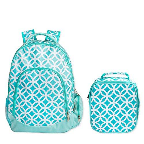 Reinforced Design Water Resistant Backpack and Lunch Bag Set (Aqua Sadie)