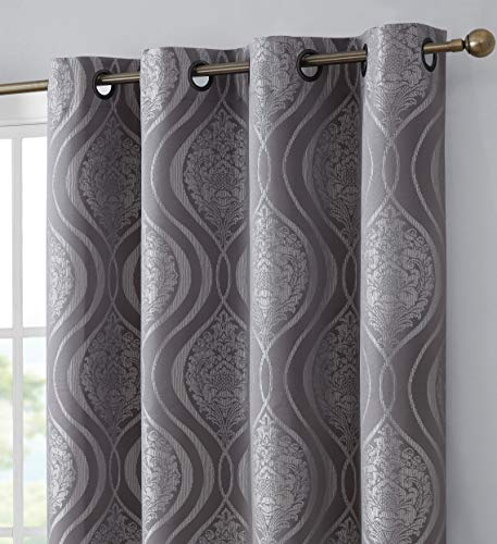 HLC.ME Montero Damask 100% Complete Blackout Heavy Thermal Insulated Energy Savings Heat/Cold Blocking Grommet Heavy Curtain Drapery Panels for Bedroom & Dining Room, 2 Panels (52 W x 84 L, Grey)