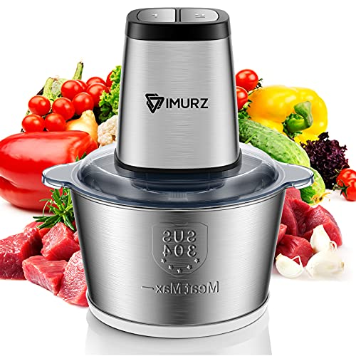 Mini Chopper Electric Food Processor with 2 Litre Stainless Steel Bowl, 2 Speeds, 4 Bi-Level Blades,500W, Silver