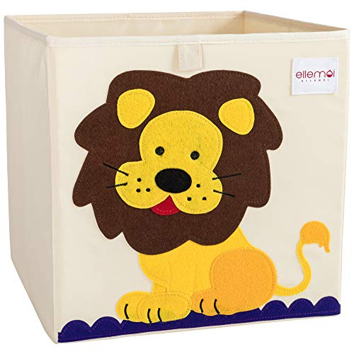 ELLEMOI Aufbewahrungsboxen für Kinderzimmer Große Kapazität Faltbar Aufbewahrung Spielzeug, Kleidung, Schuhe Aufbewahrungsbox (Löwe)