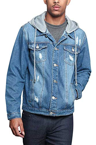 Victorious Men's Casual Layered Ripped Distressed Denim Jean Jacket DK135 - Indigo - 2X-Large - JJ7C