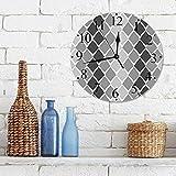 Silencioso Wall Clock Decoración de hogar de Reloj de Redondo,Gris y blanco, formas geométricas desiguales con líneas en zigzag y efecto Ombre, gris carb,para Hogar, Sala de Estar, el Aula