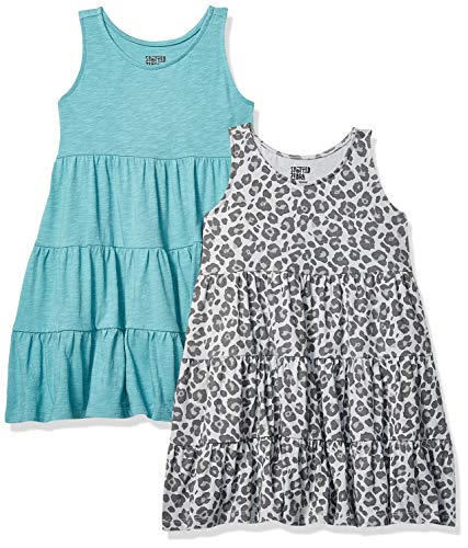 Amazon Brand - Spotted Zebra Kids Girls Knit Sleeveless Tiered Dresses, 2-Pack Cheetah/Teal, Small