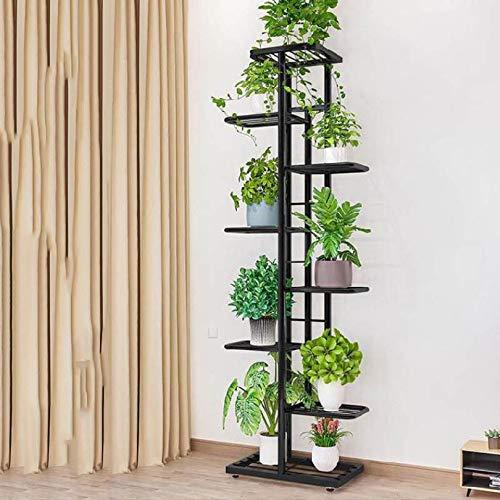 YAHAO Blumentreppe 5/7/9 Ebenen Aus Metall, Blumenständer Für Innen Und Außen Garten Balkon,Black-L