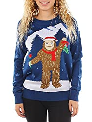 Cute Tipsy Elves Women's Romantic Sasquatch Ugly Christmas Sweater Idea