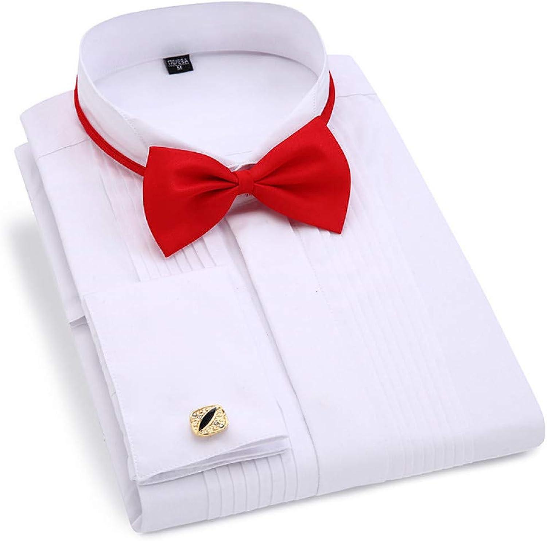 WHFDNSCS Men's Wedding Tuxedo Long Sleeve Dress Shirts Gentleman Shirt White Red Black