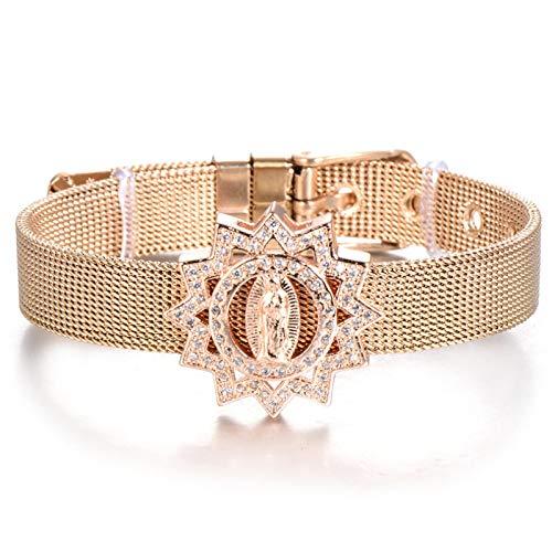 Jewellery Bracelets Bangle For Womens Zircon Charm Bracelet Stainless Steel Bracelets For Women Adjustable Mesh Bangles Religious Jewelry Gift Rosegold