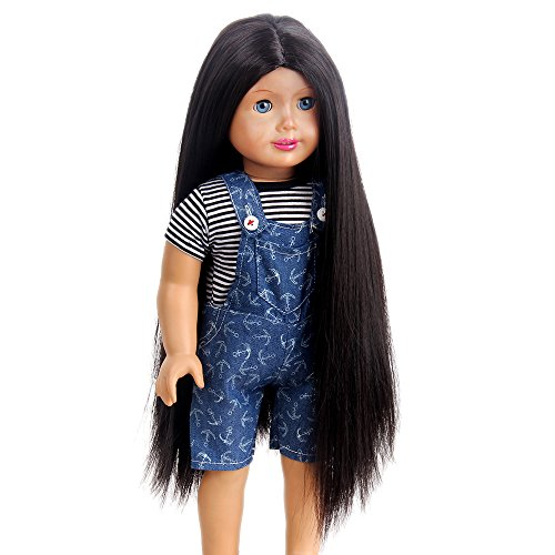H&Bwig Doll Wig for 18' Girl Doll - Tangle Resistant Long Straight Light Brown Wigs - 11' Wig Cap fits All 18' Dolls for Kids Gift (Light Brown)