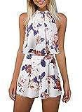 EULLA - Mono corto de verano para mujer, diseño de flores, sin mangas, elegante, estilo vintage, boho, vestido de playa, 2 piezas, con pantalones cortos beige M