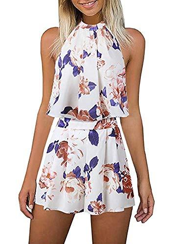 EULLA Damen Jumpsuit Kurz Sommer Blumenmuster Rompers Ärmellos Elegant Schlitz Overall Playsuit Vintage 2 teiliges Outfit mit Kurzen Reizvolle Shorts(Beige,XL)