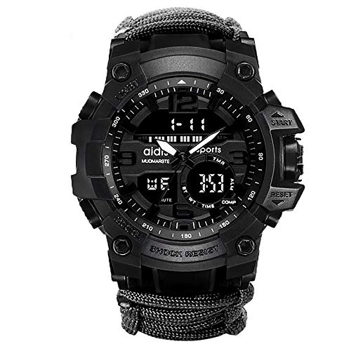 6-in-1 Top Brand Men Sports Watches Dual Display Analog Digital LED Electronic Quartz Wristwatches Waterproof Swimming Military Watch (Black)