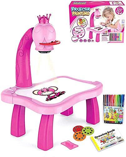 Maltisch mit Projektion für Kinder, Zeichenprojektor für Kinder, Zeichenbrett für Kinder, Lernspielzeug für Kinder, Multifunktionsmalprojektor mit Schiebemotiv (Rosa)