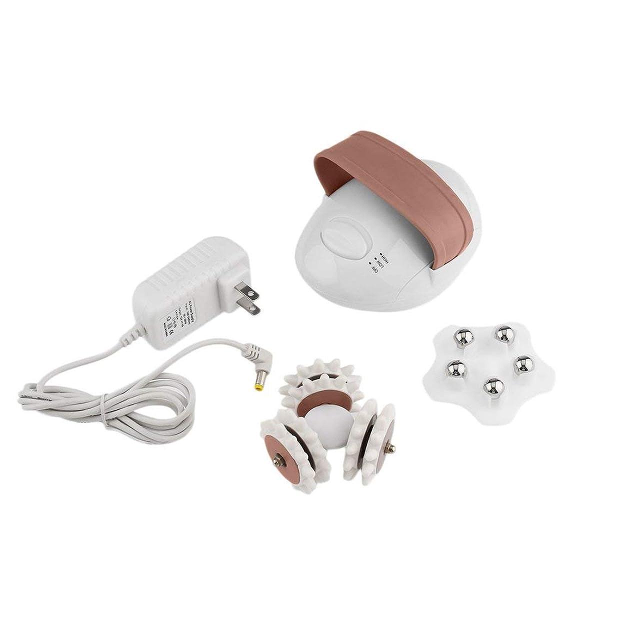コンパクトサイズの3Dミニフェイシャル混練マッサージローラー電動アンチセルライトコントロールシステムマッサージャーボディスリム-ホワイト&コーヒー