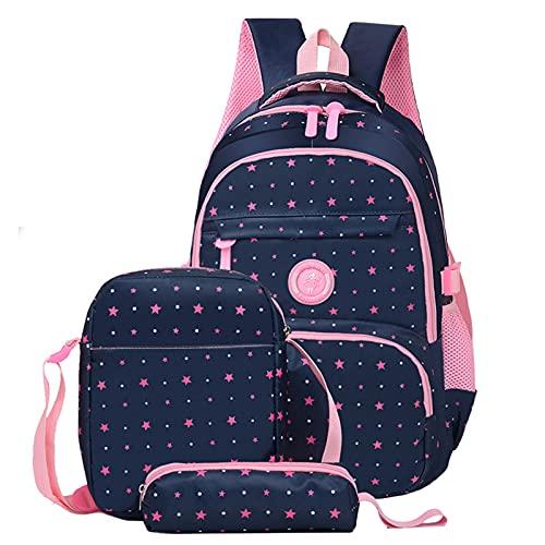 Schulranzen Mädchen, 3 Set Ergonomischer Kinderrucksack, Freizeitreise Rucksack Mädchen und Jungen, Wasserdicht Daypacks -Star Navy blau