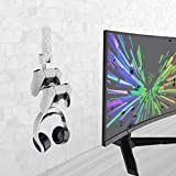 JOYTORN Wall Mount Stand Holder for Xbox SeriesX|S,PS5,Luna,Xbox one,PS4,Switch,PS3 Controller & Headphone & Remote,Stay Organized Accessories with 1 Screwdriver, 5 Screws,5 Expansion Screws(White)