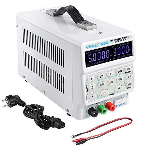 MVPOWER YIHUA-3005D Fuente de Alimentacion Regulable DC 0-30V / 0,5A con Pantalla LED de 4 Digitos Ajustable para Laboratorio, Reparaciones, Hogar, Estabilizador de Corriente con Cable de Salida