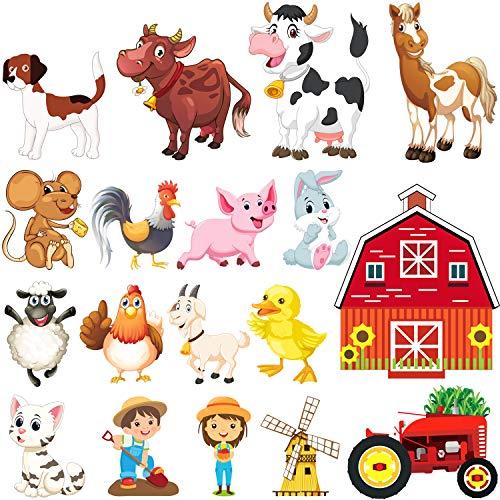 36 fenstersticker selbstklebend fensterbilder kinderzimmer Fensteraufkleber für Wohnzimmer Schlafzimmer Kinderzimmer,Babyzimmer Schwein, Pferd, Hund, Katze, Kuh (Antistatische Folie)