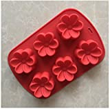 Ruiting Silikon Kuchen Formen 6 Hohlraum 3D Gardenia Blumenform Fondant Dekoration Werkzeuge Seife...