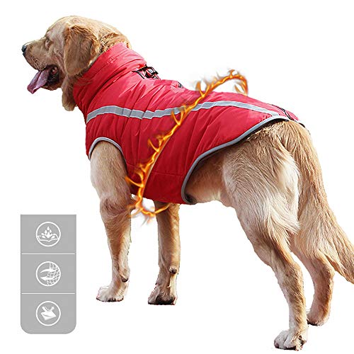Green House Dog Reflective Winter Jackets, Pet Cold Weather Coat Jumpsuit Warm Waterproof Puppy...